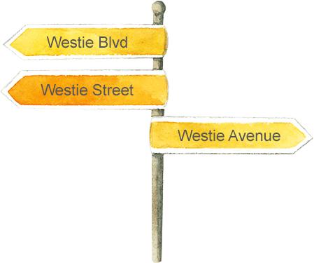 Westie Street Sign