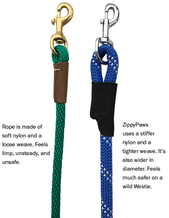 two rope leashes